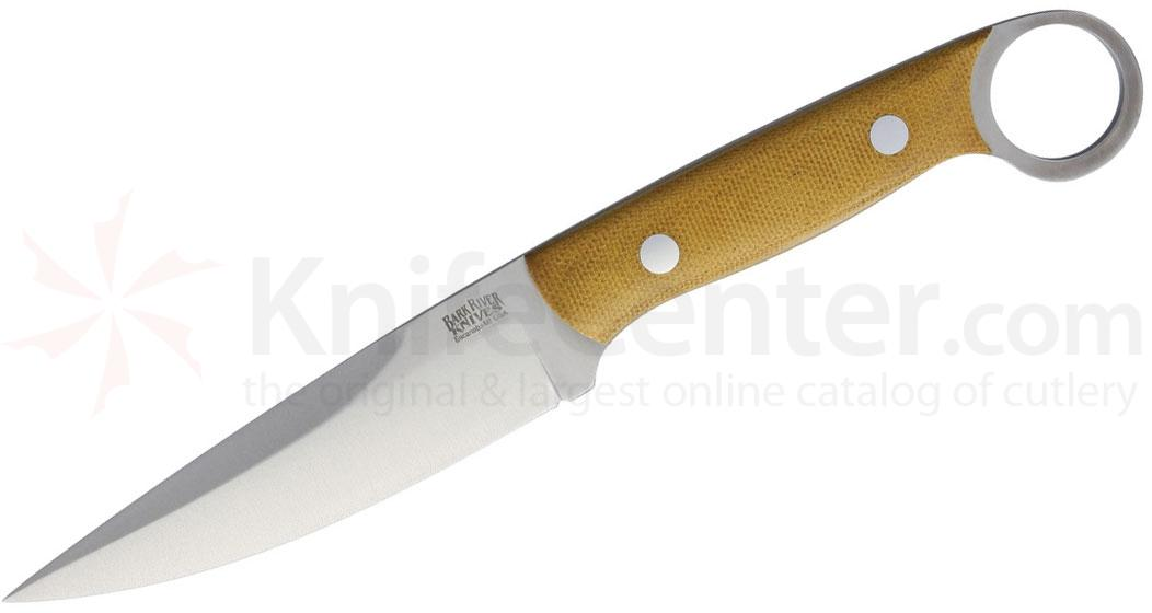 Bark River Knives Donnybrook Fixed 4 inch CPM-154 Satin Blade, Natural Canvas Micarta Handles with Pinky Ring, Leather Sheath