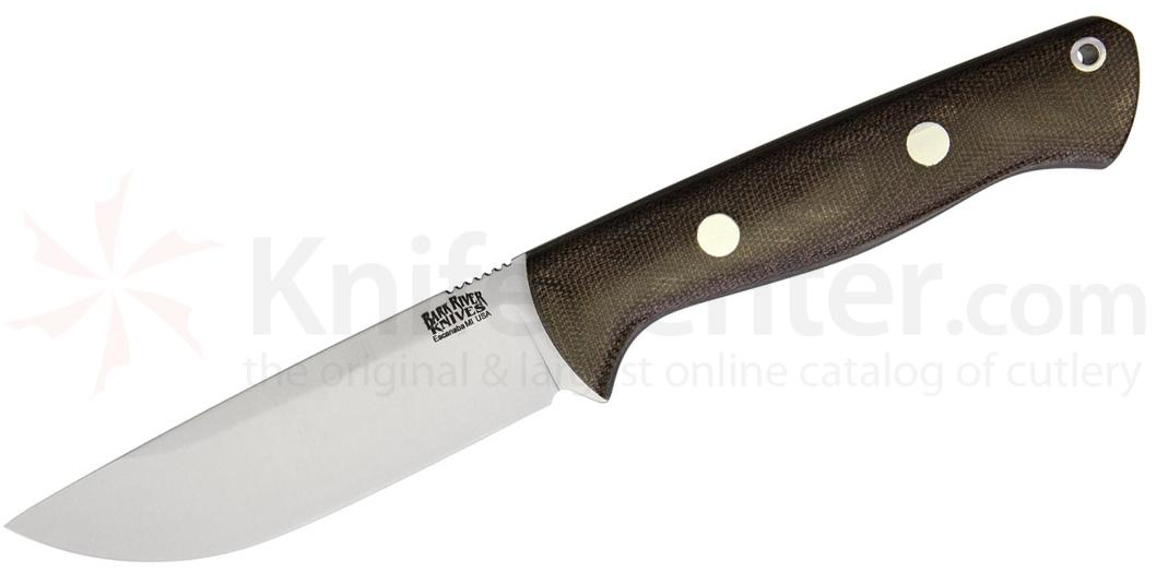 Bark River Knives Bravo 1 Field Fixed 4.25 inch A2 Tool Steel Blade, Green Canvas Micarta Handles, Leather Sheath