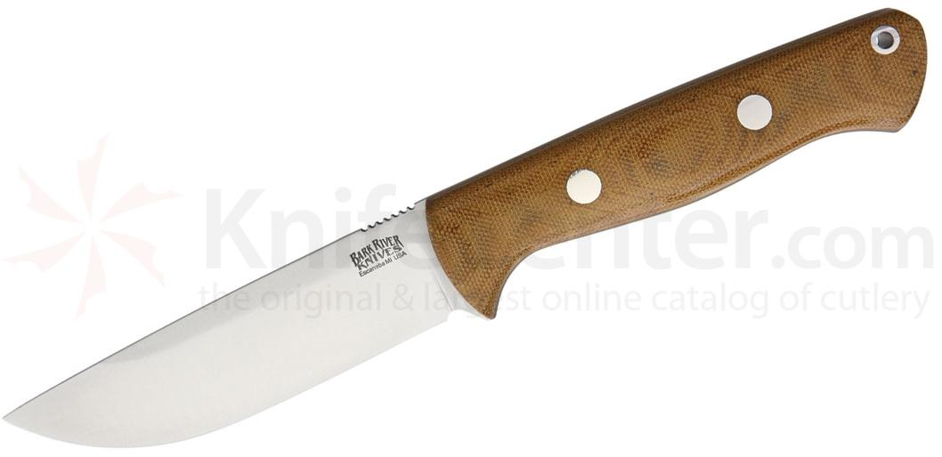 Bark River Knives Bravo 1 Field Fixed 4.25 inch A2 Tool Steel Blade, Natural Micarta Handles, Leather Sheath
