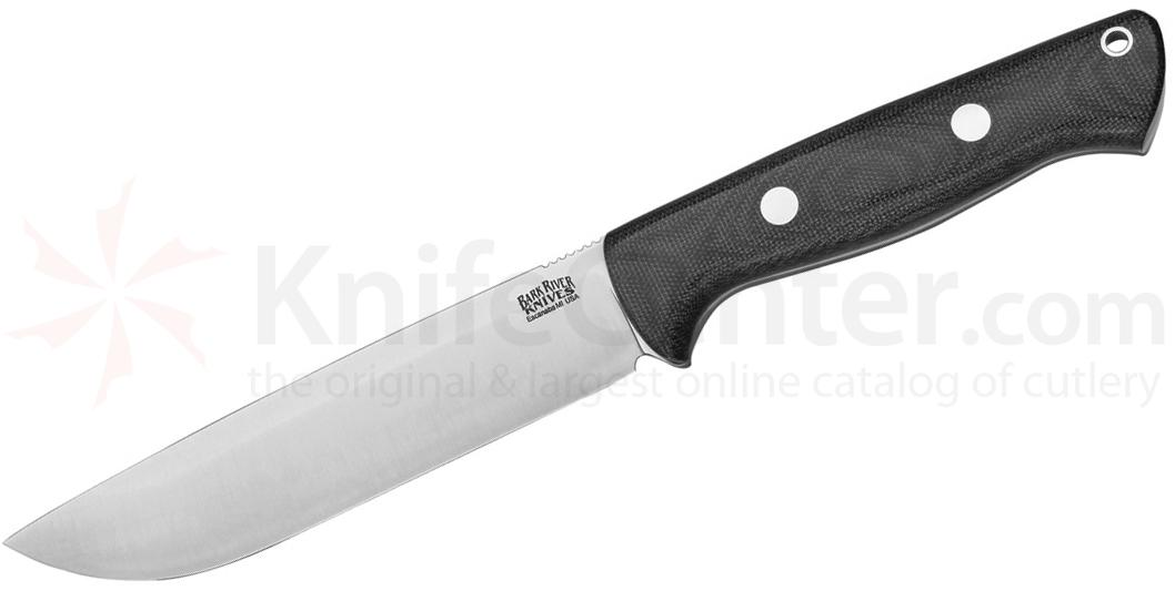 Bark River Knives Bravo 1.5 Field Fixed 5.8 inch A2 Tool Steel Blade, Black Canvas Micarta Handles, Leather Sheath