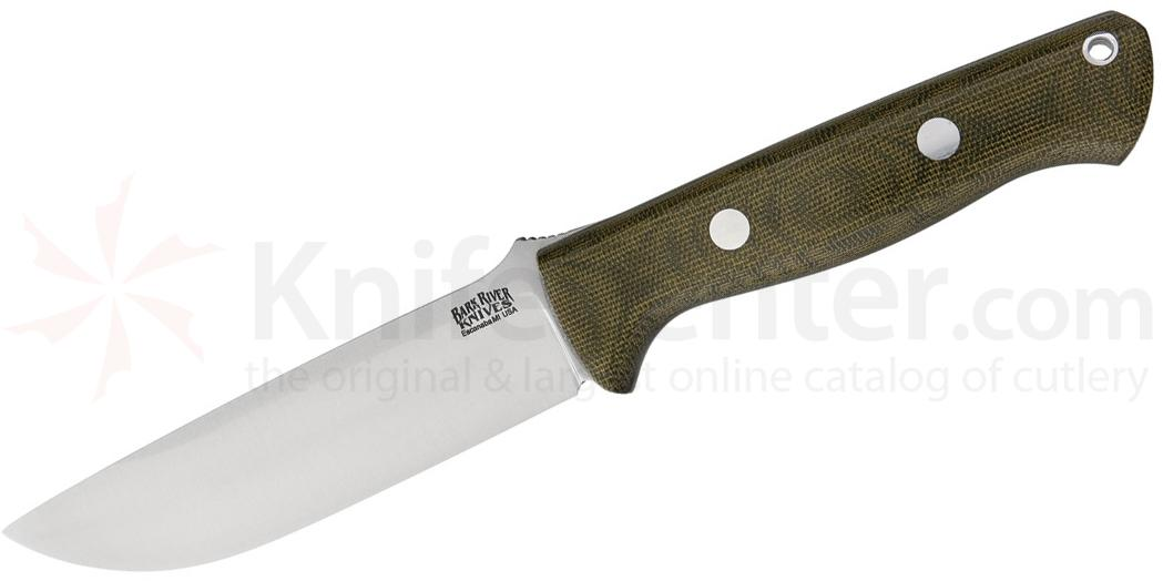 Bark River Knives Bravo 1.25 Fixed 5 inch A2 Tool Steel Blade, Green Canvas Micarta Handles, Leather Sheath