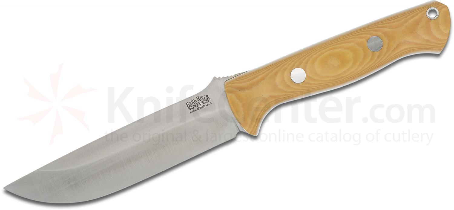 Bark River Knives Bravo 1.25 LT Fixed 5 inch CPM-3V Blade, Antique Ivory Micarta Handles, Leather Sheath