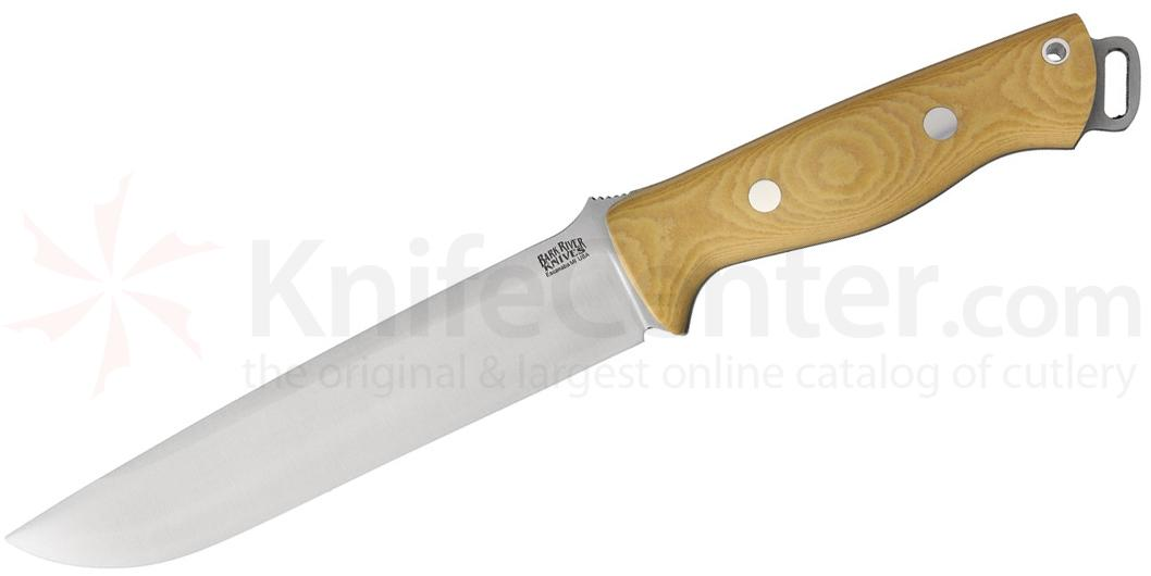 Bark River Knives Bravo 2 Fixed 7 inch S35VN Blade, Antique Ivory Micarta Handles, Leather Sheath
