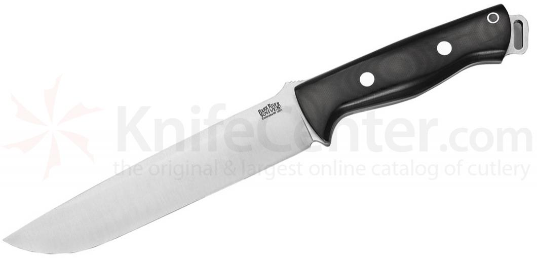 Bark River Knives Bravo 2 Fixed 7 inch S35VN Blade, Black Canvas Micarta Handles, Leather Sheath