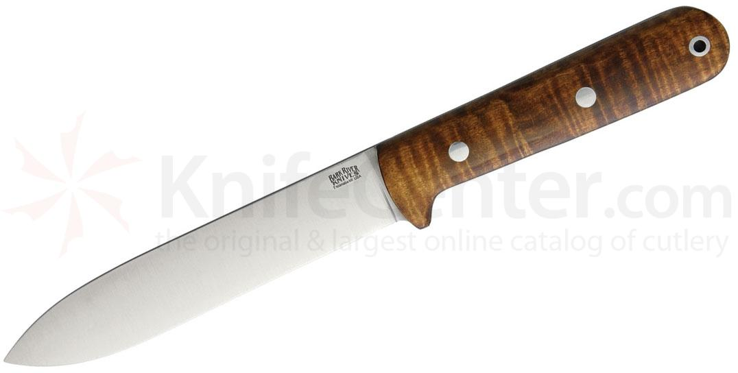 Bark River Knives Kephart Fixed 5.2 inch CPM-4V Tool Steel Blade, Dark Curly Maple Handles, Leather Sheath