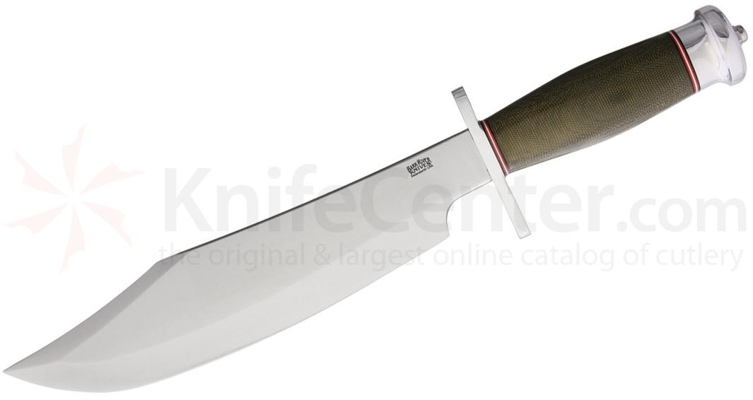 Bark River Knives Shining Mountain Bowie 10.5 inch A2 Tool Steel Blade, Green Canvas Micarta Handles, Leather Sheath