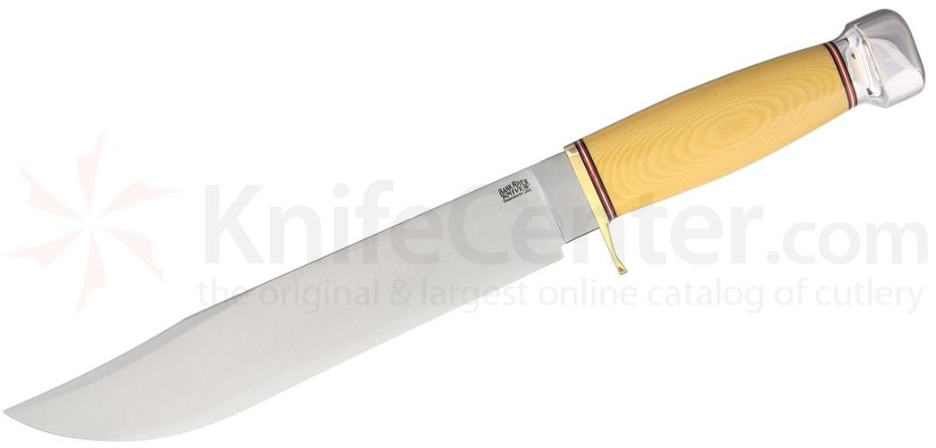 Bark River Knives 1909 Michigan Bowie Fixed 10 inch A2 Tool Steel Blade, Antique Ivory Micarta Handles, Leather Sheath