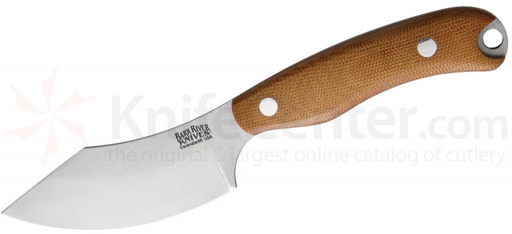 Bark River Knives JX6 Companion Fixed 3.675 inch A2 Tool Steel Blade, Natural Canvas Micarta Handles, Leather Sheath