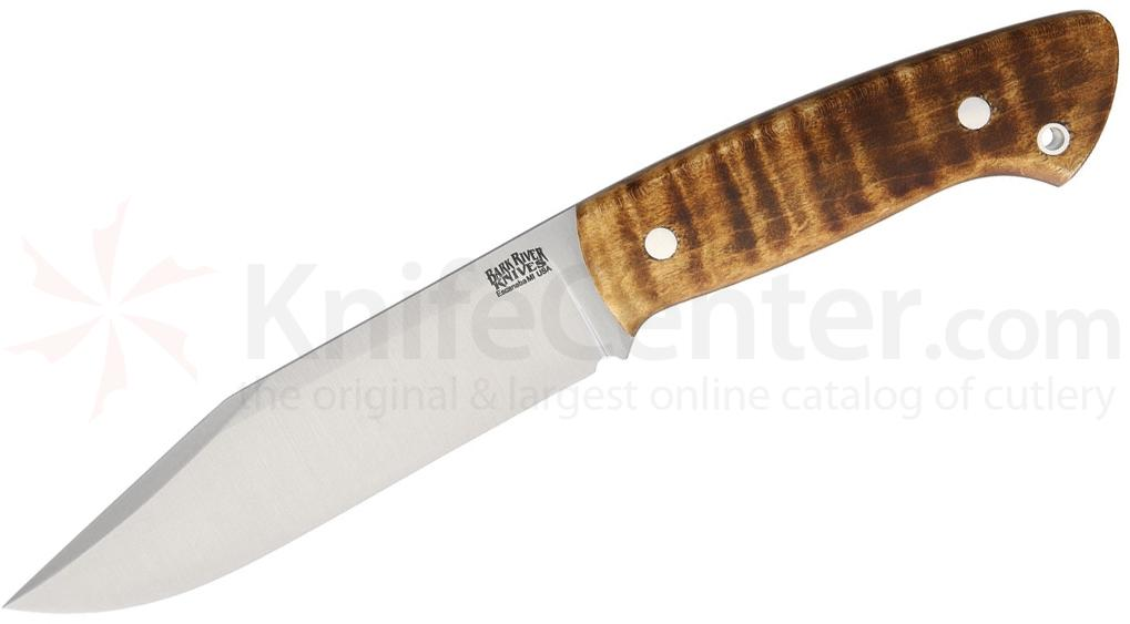 Bark River Knives Joey Cordova Ranch Hand Fixed 5.5 inch A2 Tool Steel Blade, Dark Curly Maple Handles, Leather Sheath