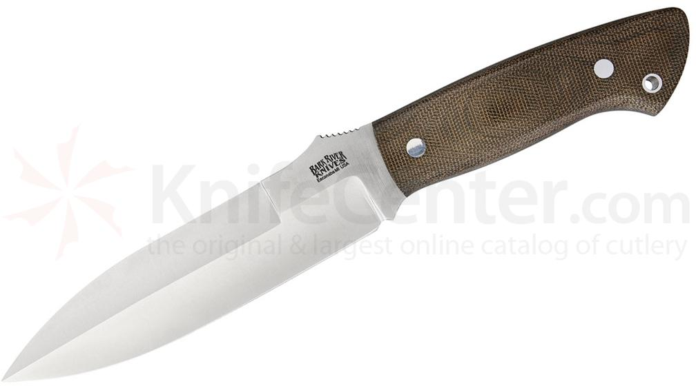 Bark River Knives Joey Cordova Essos Fixed 5.875 inch A2 Tool Steel Blade, Green Canvas Micarta Handles, Leather Sheath