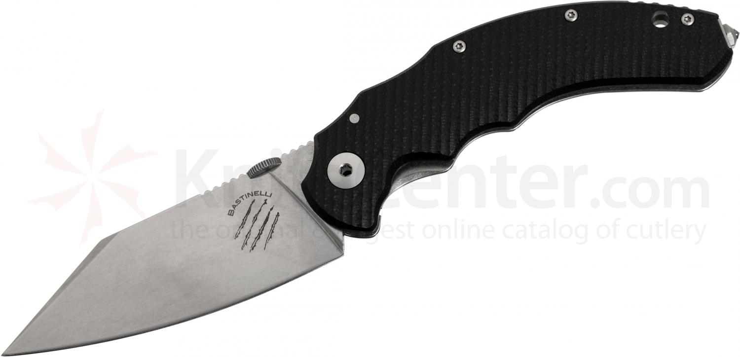 Bastinelli Creations Compact Dragotac Frame Lock 3.75 inch Wharncliffe D2 Blade, Milled Black G10 Handle