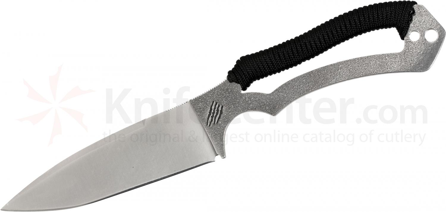 Bastinelli Creations Raptor GT6 Squelette Fixed 4.14 inch Alenox Blade, Cord Wrapped Handle, Kydex Sheath
