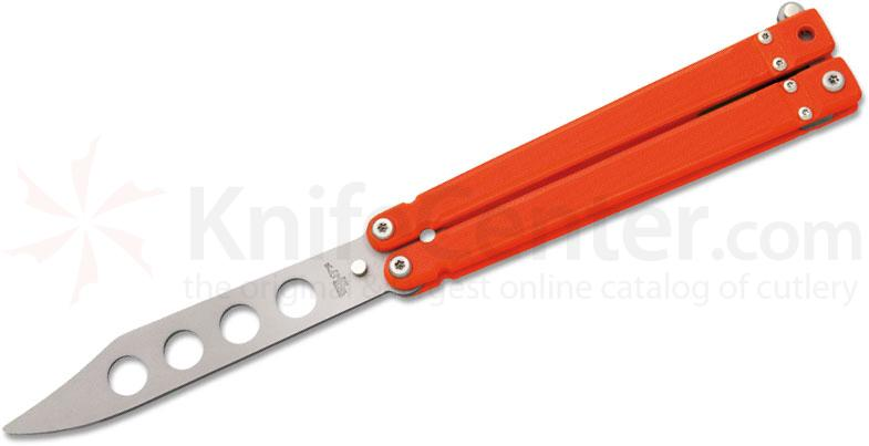 Bear OPS B-201-OR4-P Butterfly Trainer 4.25 inch Bead Blast Blade, Orange G10 Handles