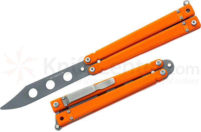 Bear OPS B-201-OR4-P Butterfly Trainer 4-1/2 inch Bead Blast Blade, Orange G10 Handles