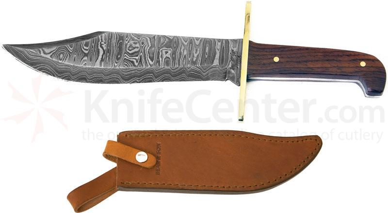 Bear & Son 7-1/2 inch American Standard Bowie Damascus Blade, Cocobolo Handles