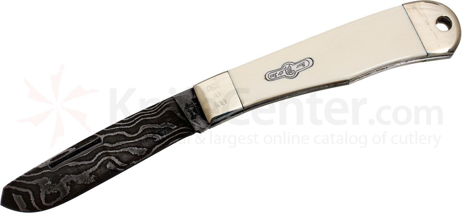 Bear & Son Custom Heritage Series Damascus Outrider 4-1/2 inch Closed, Mastodon Ivory Handles