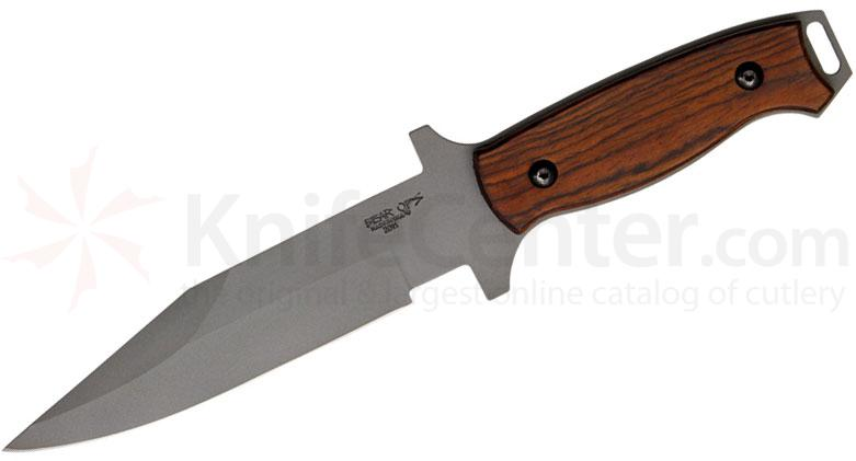 Bear OPS C-100-CB2-P Combat Knife 6 inch Bead Finish Modified Clip Point Blade, Cocobolo Handles