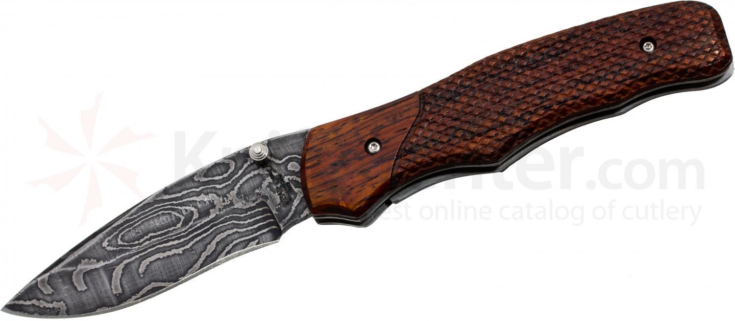 Bear OPS MC-100-CB2-LD Folding 3-1/4 inch Plain Damascus Blade, Cocobolo Wood Handles