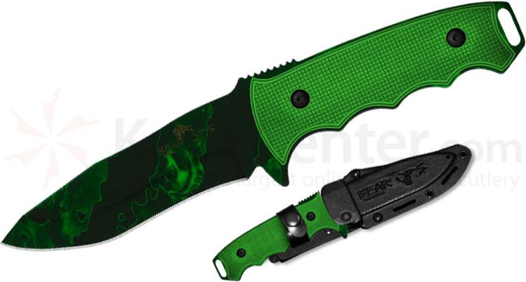 Bear OPS Constant II Undead Fixed 4-1/4 inch Reaper Z Coated Blade, Green G10 Handles (UD-CC-600)