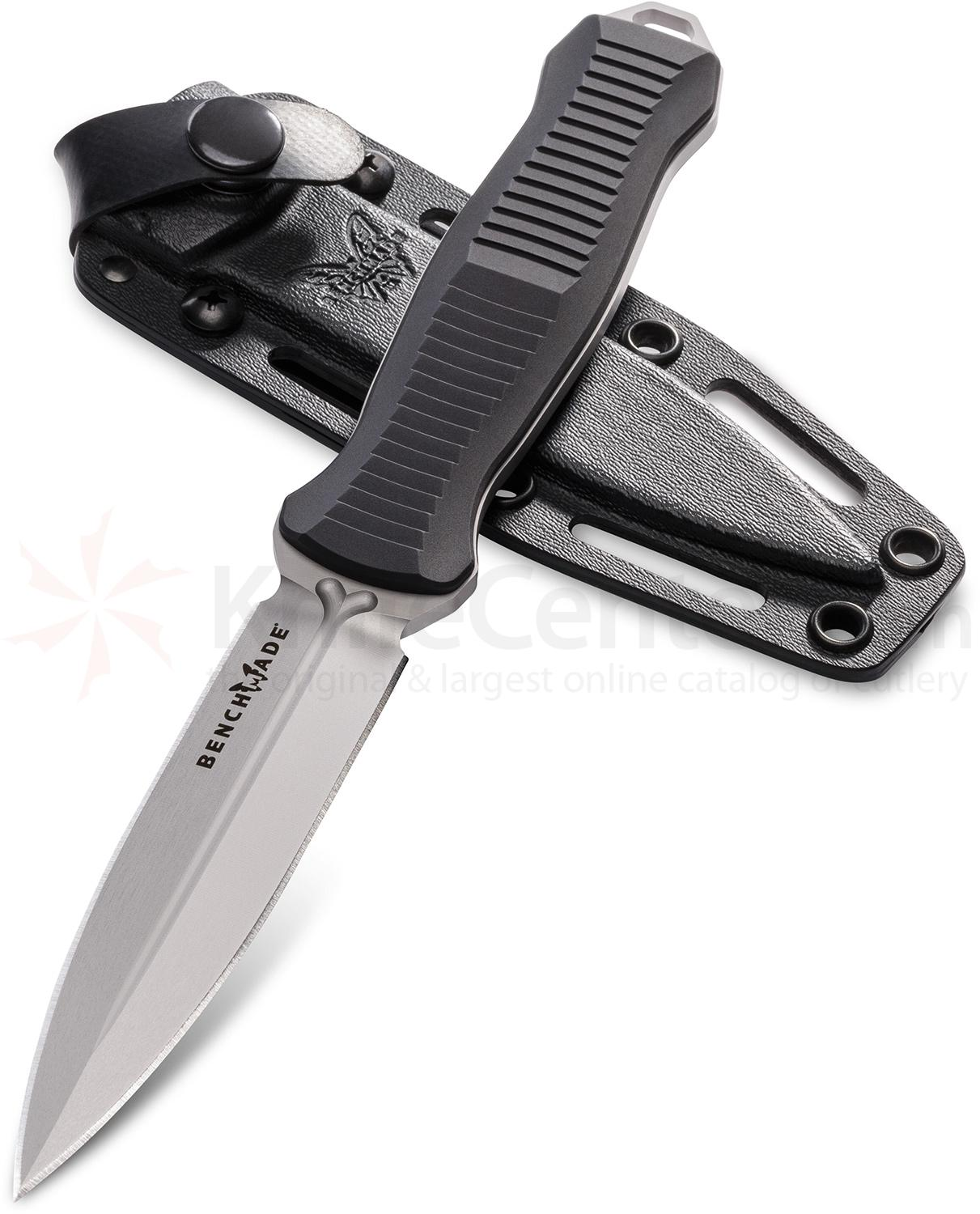 Benchmade 133 Fixed Infidel 4.52 inch D2 Satin Double Edge Dagger Blade, Black Aluminum Handles, Boltaron Sheath