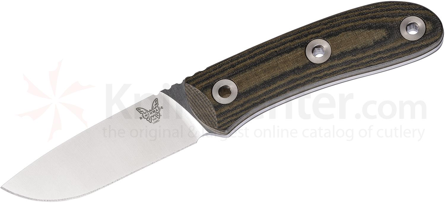 Benchmade 15400 Mel Pardue Hunter Fixed 3.48 inch S30V Stonewashed Blade, OD/Black Striped Micarta Handles, Leather Sheath