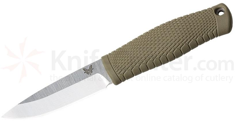 Benchmade 200 Puukko Fixed Blade Knife CPM-3V Satin, OD Green Santoprene Handle, Black Leather Sheath