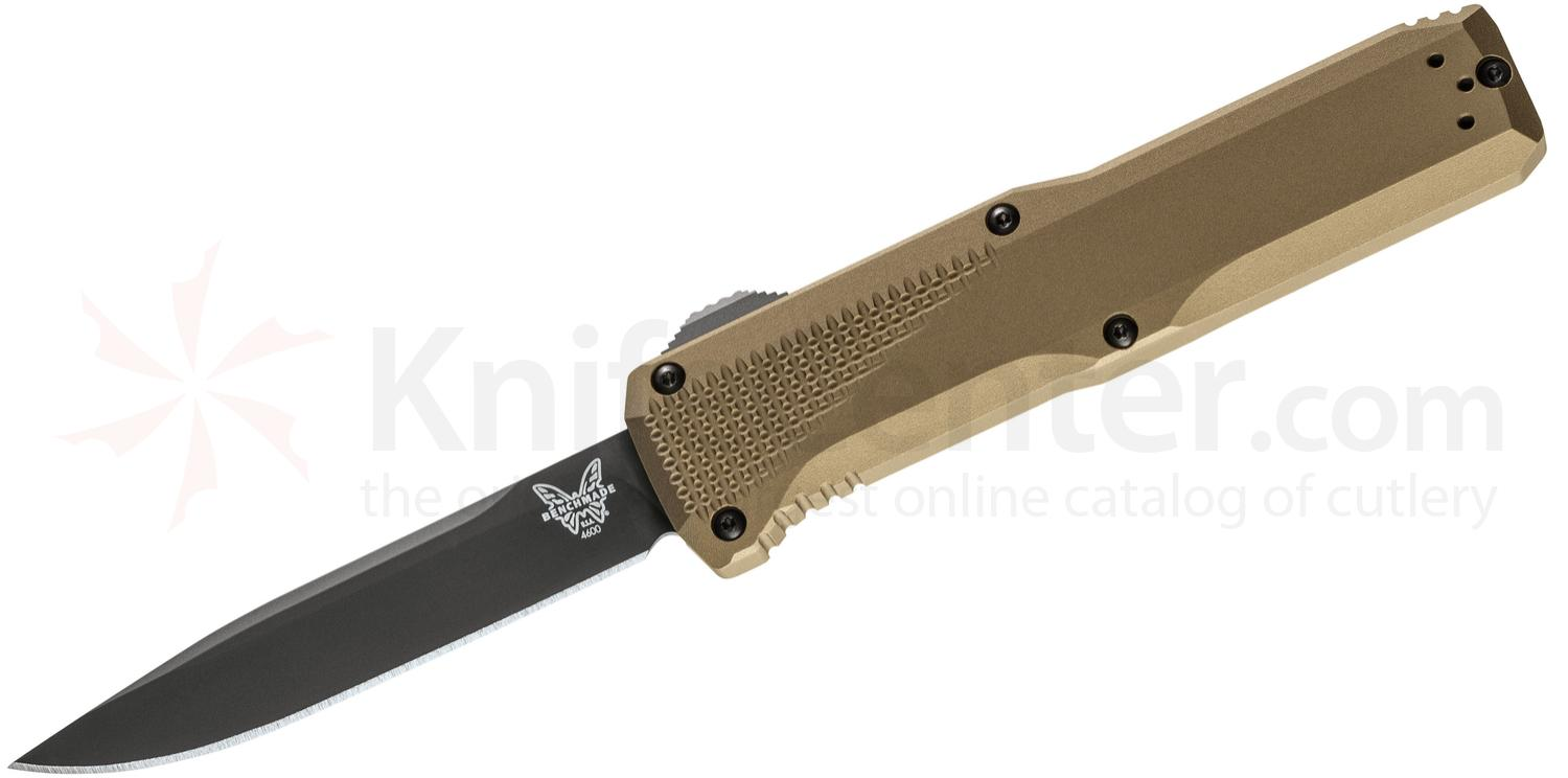 Benchmade 4600DLC-1 Phaeton AUTO OTF 3.45 inch Black S30V Drop Point Blade, Dark Earth Aluminum Handles