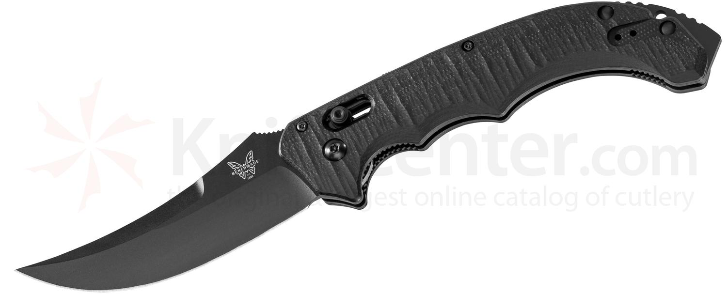 Benchmade 8600BK Bedlam AUTO-AXIS 4 inch Black Plain Blade, G10 Handles
