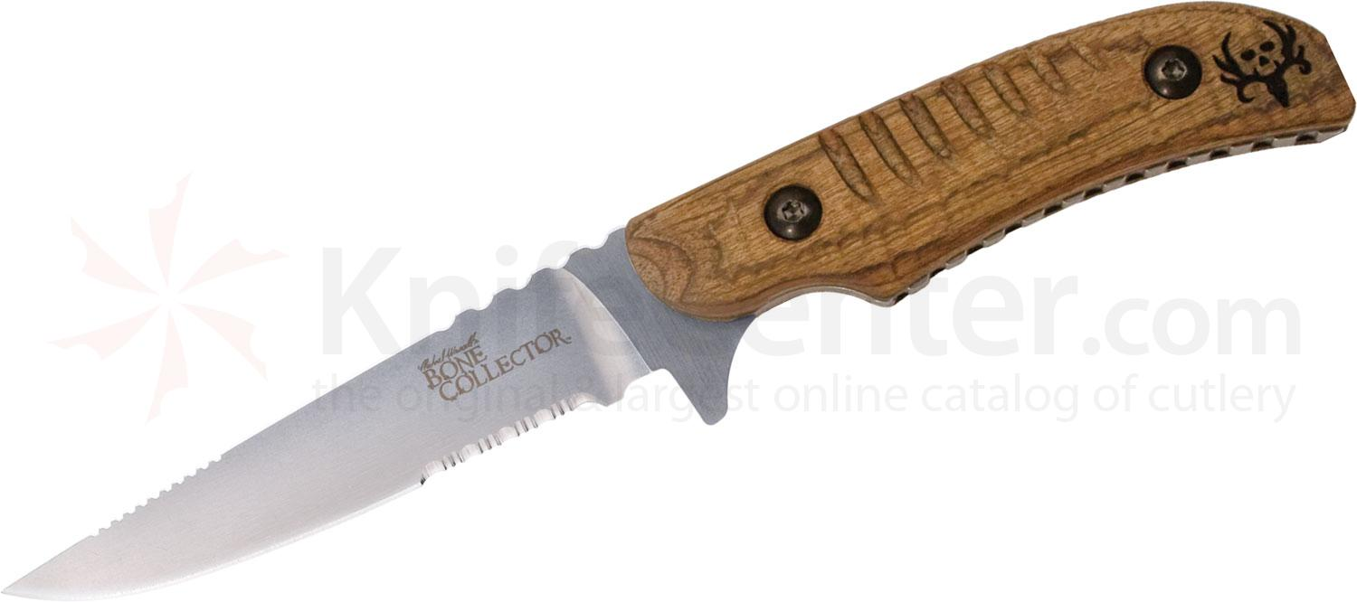 Benchmade Michael Waddell's Bone Collector Skinner 4.3 inch D2 Combo Blade, Walnut Wood Handles
