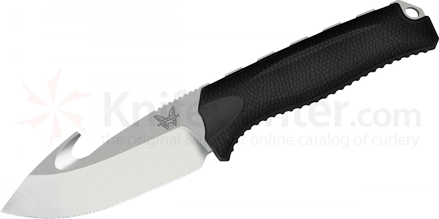 Benchmade Hunt 15009-BLK Steep Mountain Hunter Fixed 3.50 inch S30V Blade with Gut Hook, Black Santoprene Handles