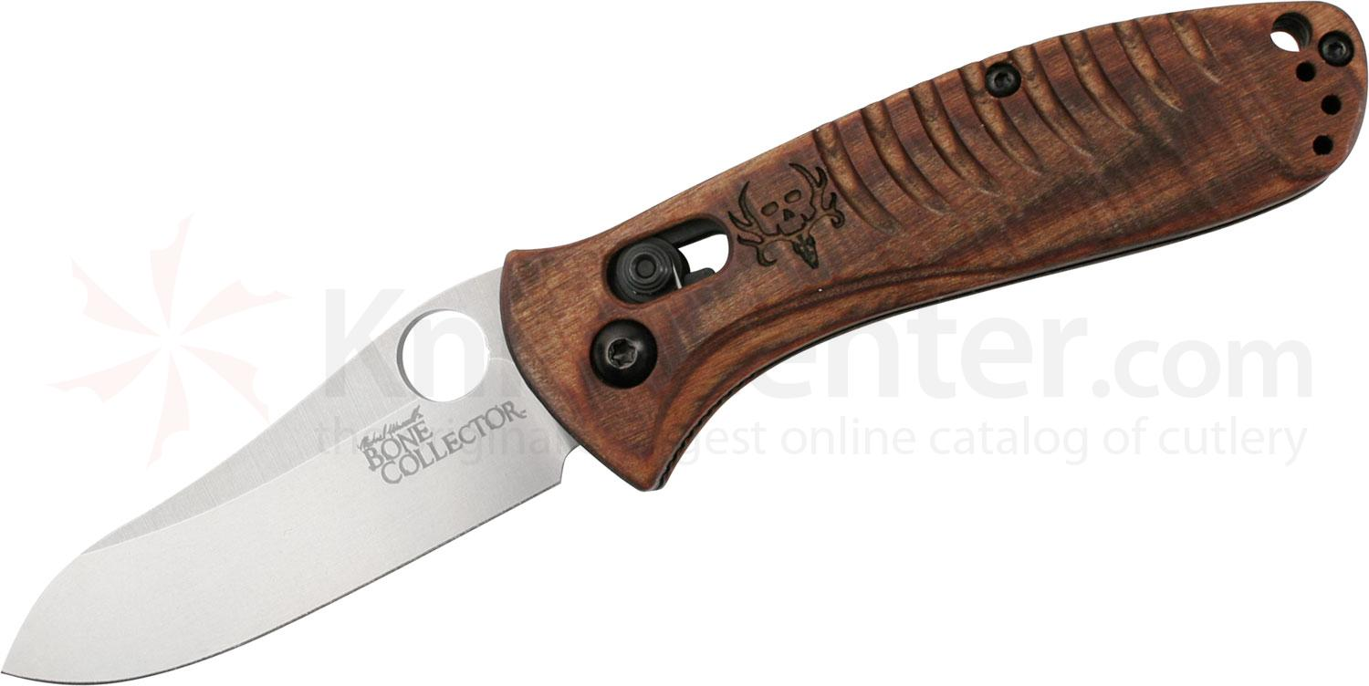 Benchmade 15030-2 Waddell's Bone Collector (Small) AXIS Folder 2.95 inch D2 Plain Blade, Walnut Wood Handles