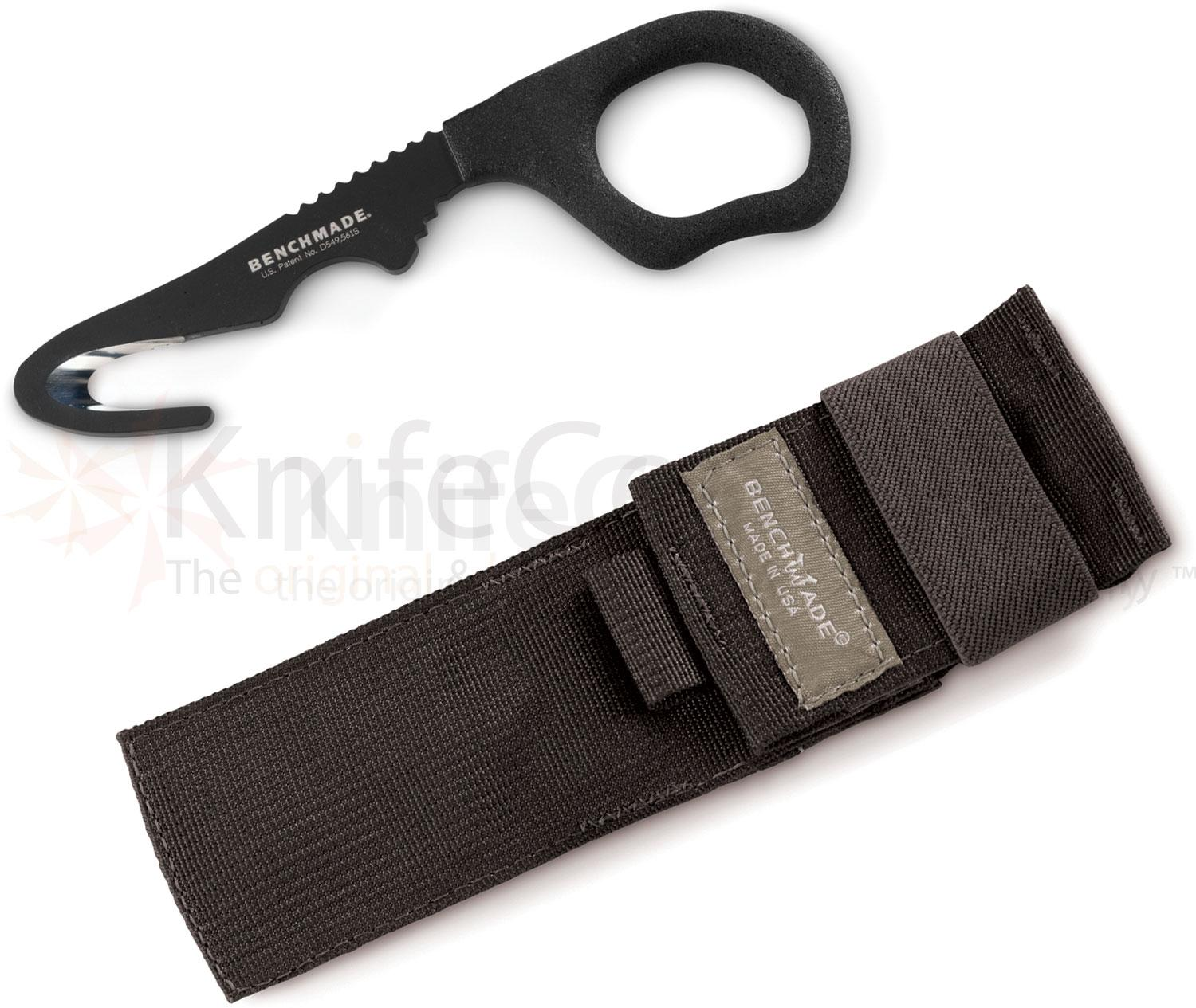 Benchmade 15 Safety Cutter Rescue Hook, 6.10 inch Overall, Soft Black MOLLE Sheath