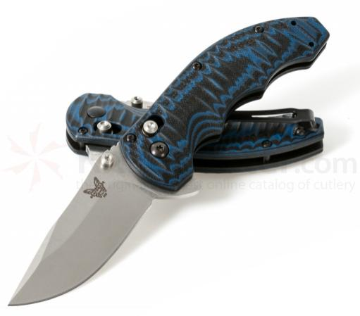 Benchmade 300-1 AXIS Flipper Folding Knife 3.05 inch Satin 154CM Plain Blade, Textured Blue/Black G10 Handles