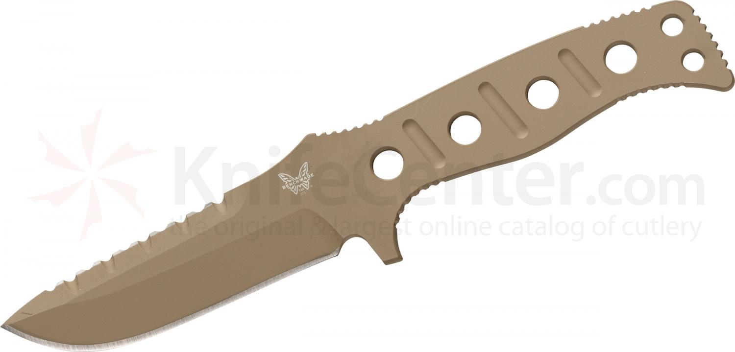 Benchmade 375SN Adamas Fixed 4.2 inch Desert Tan D2 Plain Blade, Desert Tan Sheath