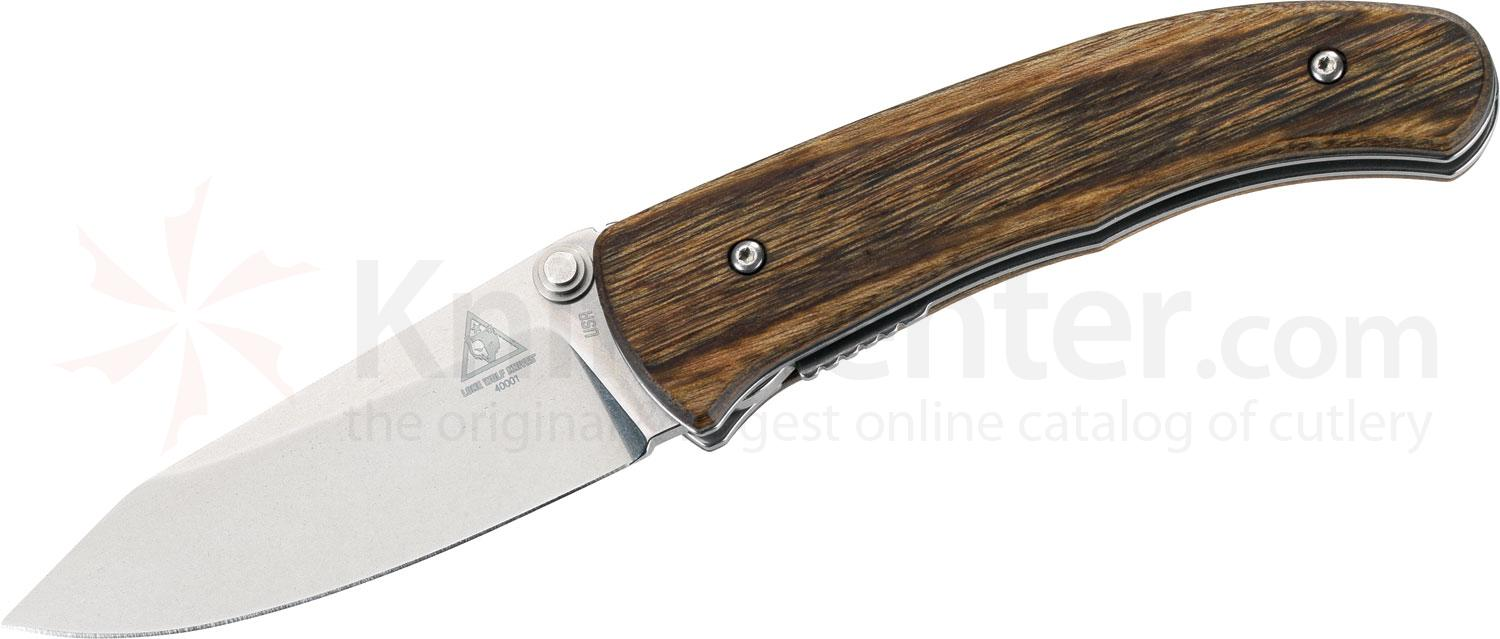 Benchmade Lone Wolf 40001 Swale Folding 2.92 inch N680 Plain Blade, Wood Handles