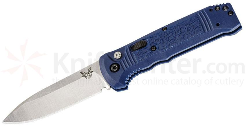 Benchmade 4400-1 Casbah AUTO 3.4 inch Satin S30V Drop Point Blade, Blue Textured Grivory Handles