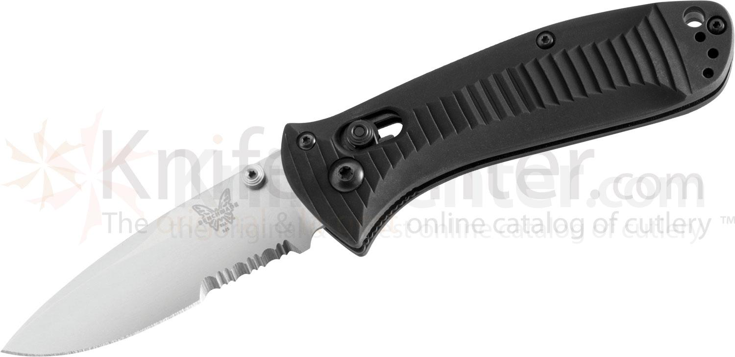Benchmade 525S Mini-Presidio Folding Knife 2.97 inch Satin Combo Blade, Aluminum Handles