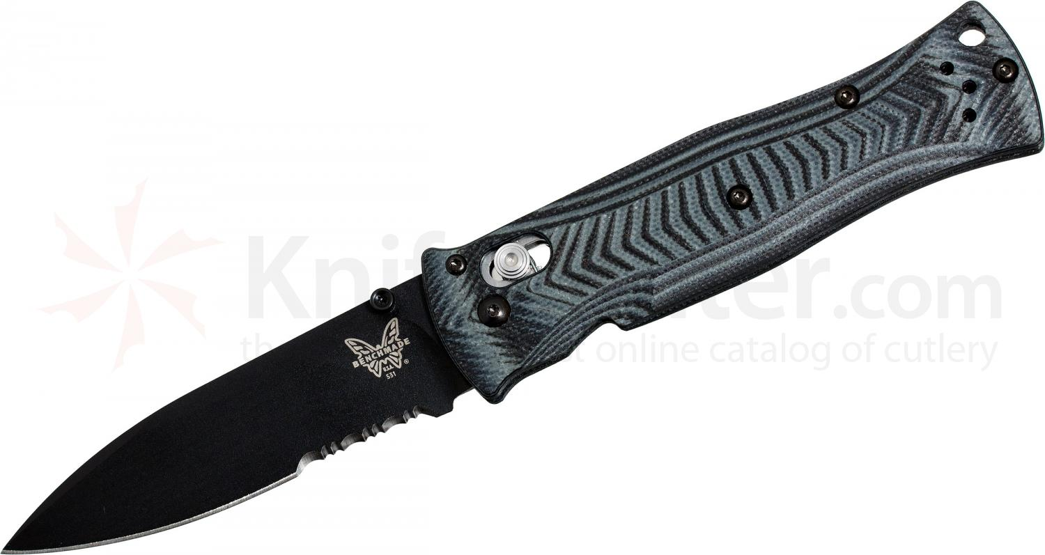 Benchmade 531SBK Pardue AXIS Folding Knife 3.25 inch Black Combo Blade, G10 Handles