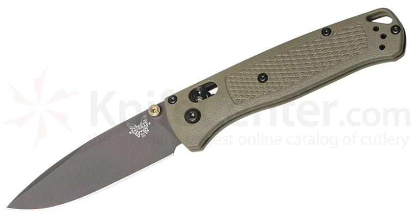 Benchmade 535GRY-1 Bugout AXIS Folding Knife 3.24 inch S30V Smoked Gray Plain Blade, Ranger Green Grivory Handles