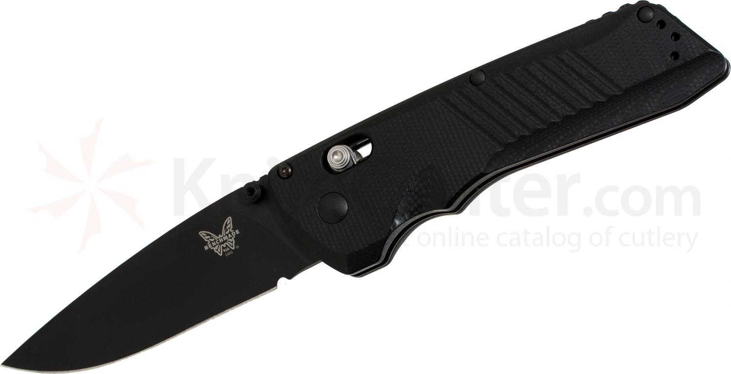 Benchmade 5400BK Serum AXIS Dual-Action AUTO 3.47 inch Black Plain Blade, G10 Handles