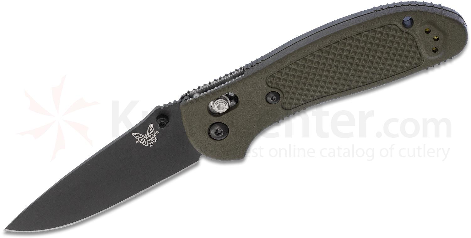 Benchmade Griptilian AXIS Lock Folding Knife 3.45 inch S30V Black Drop Point Plain Blade, OD Green Noryl GTX Handles