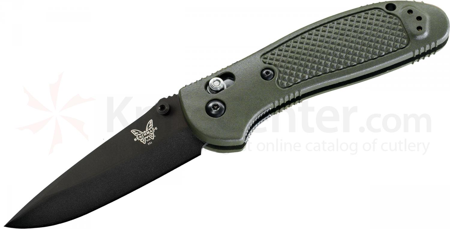 Benchmade 551BKOD Griptilian 3.45 inch Black Drop Point Plain Blade, Olive Drab Handles