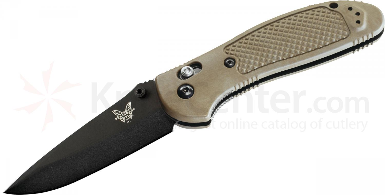 Benchmade 551BKSN Griptilian 3.45 inch Black Drop Point Plain Blade, Sand Handles