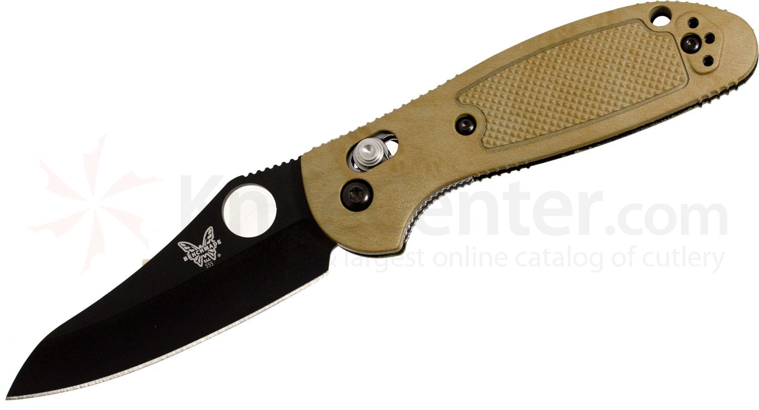 Benchmade 555BKHGSN Mini Griptilian Axis Lock 2.8 inch Black Plain Blade, Sand Color Handle