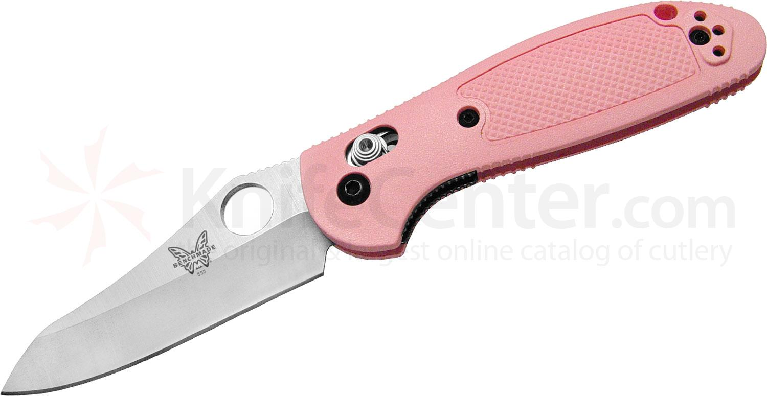 Benchmade 555HGPNK Mini Griptilian AXIS Lock 2.9 inch Plain Satin Blade, Pink Handles