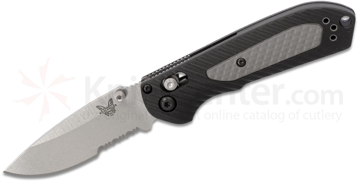 Benchmade Mini Freek Folding Knife 3 inch S30V Satin Combo Blade, Grivory and Versaflex Handles