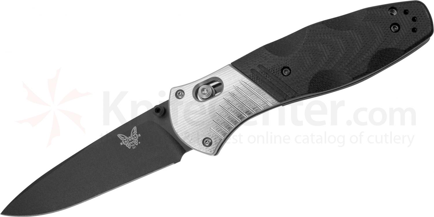 Benchmade 581BK Barrage AXIS-Assisted 3.6 inch M390 Black Plain Blade, G10 and Aluminum Handles