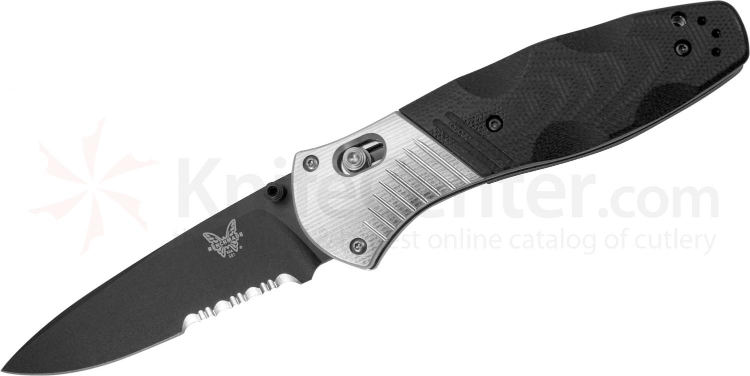Benchmade 581SBK Barrage AXIS-Assisted Folding Knife 3.6 inch M390 Black Combo Blade, Black G10 and Aluminum Handles