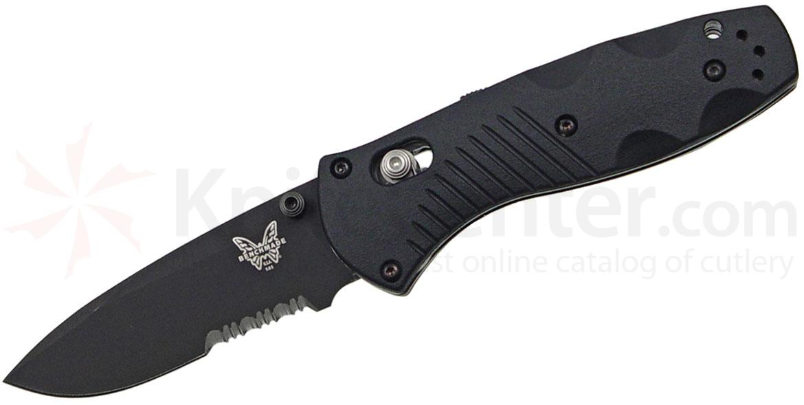 Benchmade 585SBK Mini-Barrage AXIS-Assisted 2.91 inch Black Combo Blade, Valox Handles