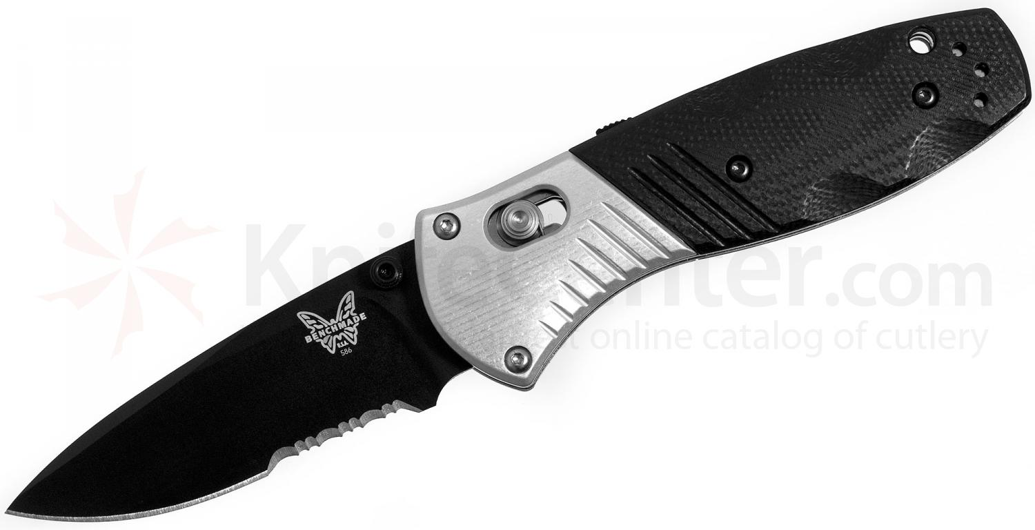 Benchmade 586SBK Mini-Barrage AXIS-Assisted 2.91 inch M390 Black Combo Blade, G10 and Aluminum Handles